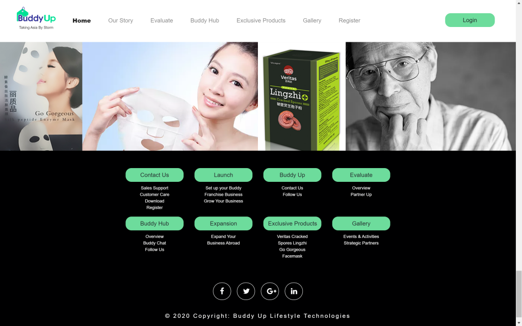 Buddy Up Website | Footer | InnoLab Global Portfolio